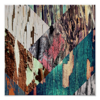 Wood Texture Collage Poster