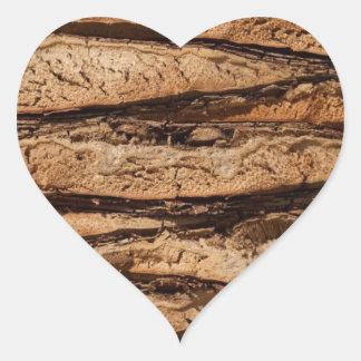 Wood texture design heart sticker