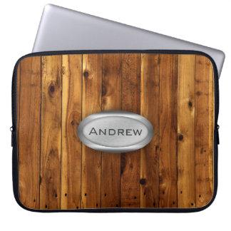 Wood Texture Pattern Metallic Nameplate Laptop Sleeve