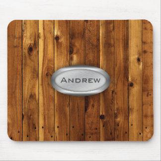 Wood Texture Pattern Metallic Nameplate Mouse Pad