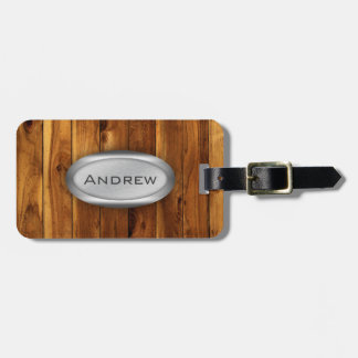 Wood Texture Pattern Metallic Nameplate Tag For Luggage