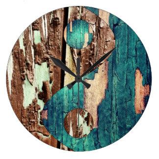 Wood Texture Yin Yang Clock