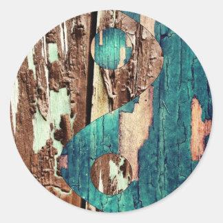 Wood Texture Yin Yang Stickers