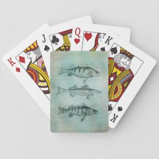 Wood Textured Look Fish Design Poker Cards