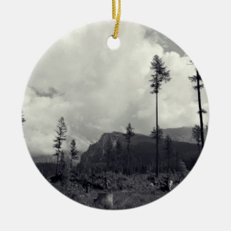 Wood Themed, A Black And White Picture Where Sever Double-Sided Ceramic Round Christmas Ornament
