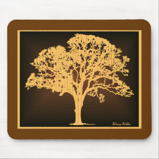 Wood tone Tree silhouette mousepad