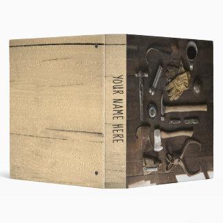 Wood tools binder, workshop brown ring, hammer 3 ring binder