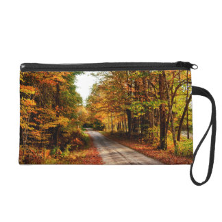 Wood trail with fall foliage wristlet clutches