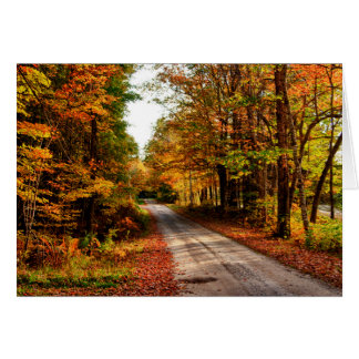 Wood trail with fall foliage card