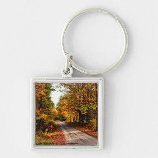 Wood trail with fall foliage keychains