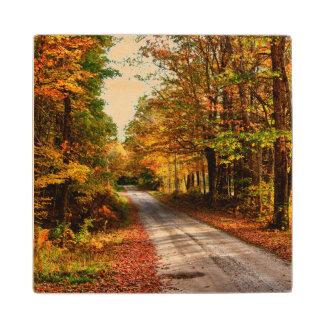Wood trail with fall foliage maple wood coaster