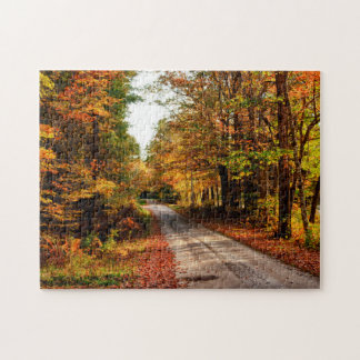 Wood trail with fall foliage puzzle