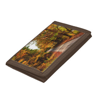 Wood trail with fall foliage trifold wallets