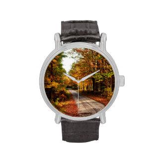 Wood trail with fall foliage wrist watches