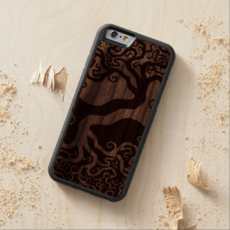 Wood Tree of Life Yin Yang Carved Walnut iPhone 6 Bumper Case