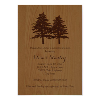 Wood & trees brown woodland wedding couples shower card