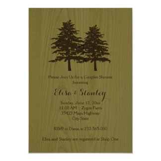 Wood & trees green woodland wedding couples shower card