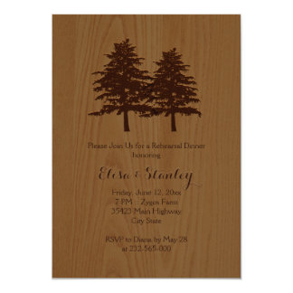 Wood & trees woodland wedding rehearsal dinner card