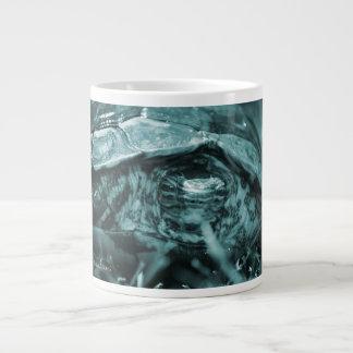 Wood turtle ornate head on in grass blue large coffee mug