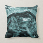 Wood turtle ornate head on in grass blue throw pillows