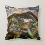 Wood turtle ornate head on in grass pillow