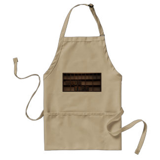 wood type in a case khaki apron