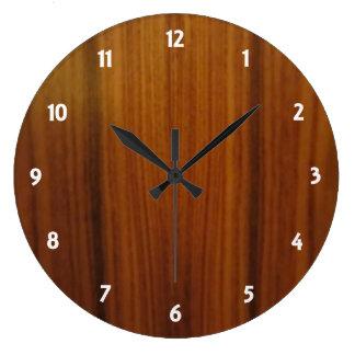 wood veneer dial round wall clock