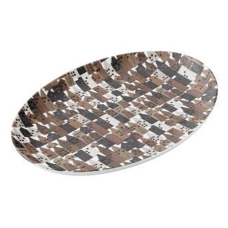 Wood village platter porcelain serving platter