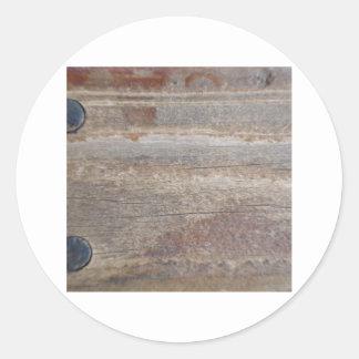 wood w 2 bolts round sticker