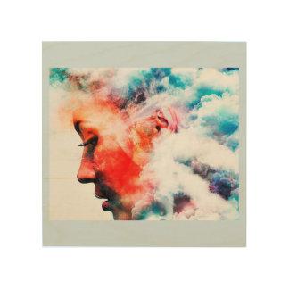 Wood wall  art cloudy thinking  face