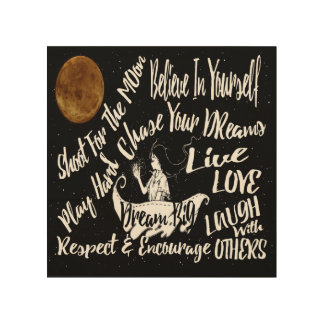 Wood wall art Inspirational Quote Night
