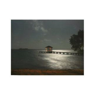 wood wall art with photo of moonlight Belize caban