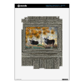 Wood wall bull moose oil painting decals for iPad 3