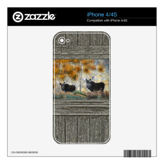 Wood wall bull moose oil painting decals for iPhone 4