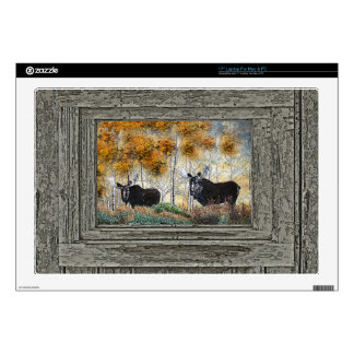 Wood wall bull moose oil painting decals for laptops