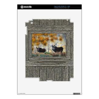 Wood wall bull moose oil painting decals for the iPad 2