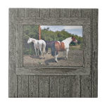 Wood wall horses 1 small square tile