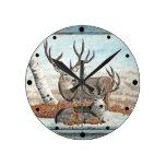 Wood wall painted bucks round clock