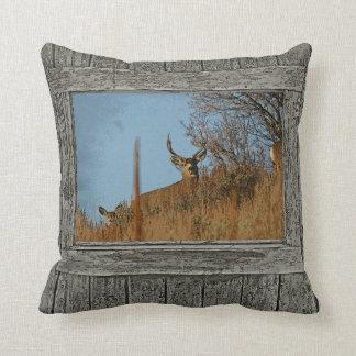Wood wall window mule deer 3 pillow