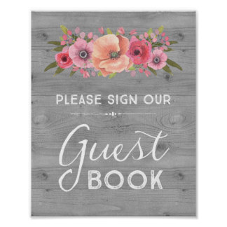 Wood Watercolor Floral Guest Book Wedding Sign