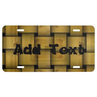 Wood weave pattern license plate
