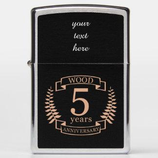 Wood wedding anniversary 5 years zippo lighter