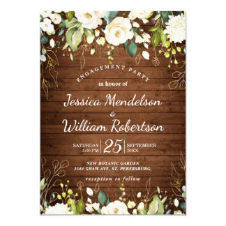 Wood & White Floral Greenery  Engagement Party Invitation