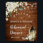 """Wood & White Roses  Floral Rehearsal Dinner Sign<br><div class=""""desc"""">Enjoy your Engagement Party with this unique poster with Wood & White Roses Rustic Floral  Bouquet  . If you need a help,  contact me,  please.</div>"""