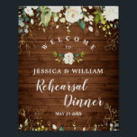 """Wood & White Roses  Floral Rehearsal Dinner Sign<br><div class=""""desc"""">Enjoy your Engagement Party with this unique poster with Wood & White Roses Greenery  Floral  Bouquet  . If you need a help,  contact me,  please.</div>"""