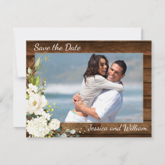 Wood  White Roses Photo Wedding Save the Date Card