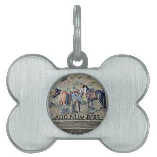 Wood window horses 3 pet ID tag