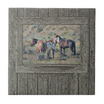 Wood window horses 3 small square tile