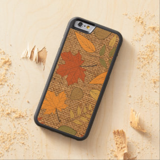 WOOD With FAUX Burlap, Autumn Leaves iPhone 6 Case