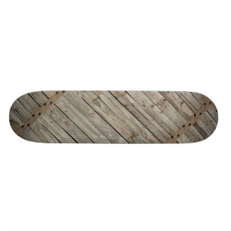 Wood with Iron Borders Background Skateboard Deck